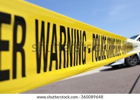 police line at crime scene - stock photo