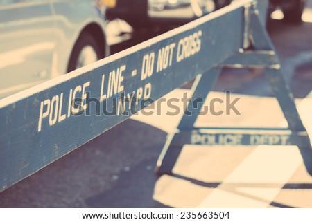 Police Line on the Crime Scene - stock photo