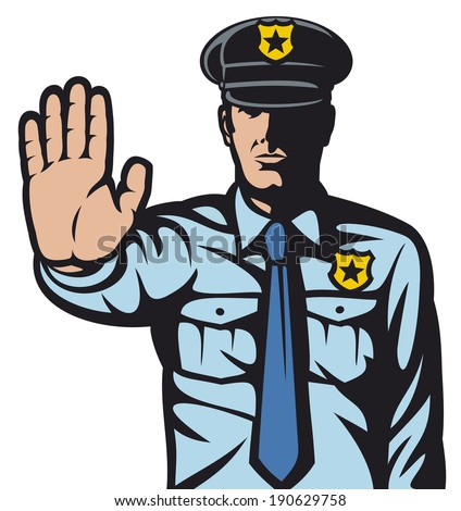 police man gesturing stop sign (stop sign by a police man, police officer is making stop sign with hand) - stock photo
