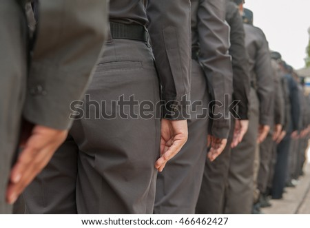 Police men and police women refresher training tactics.