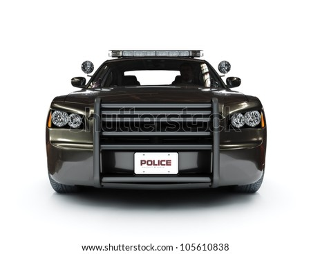 Police modern car on a white background, night version with tactical lights also available. - stock photo