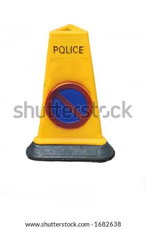 Police no parking cone - stock photo