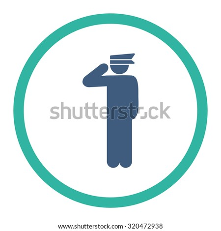 Police officer glyph icon. This rounded flat symbol is drawn with cobalt and cyan colors on a white background.