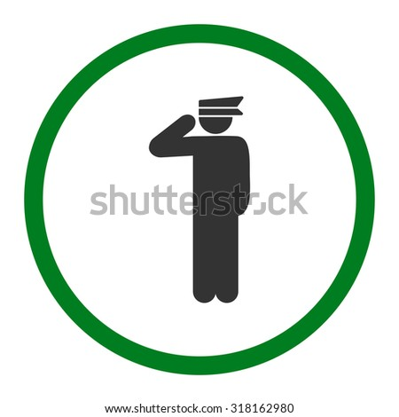 Police officer glyph icon. This rounded flat symbol is drawn with green and gray colors on a white background.