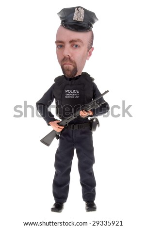 Police officer with shotgun isolated over white - stock photo