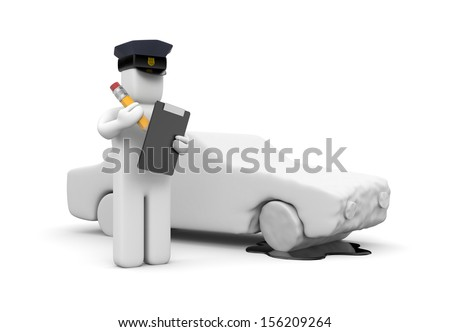 Police officer writing a vehicle accident - stock photo