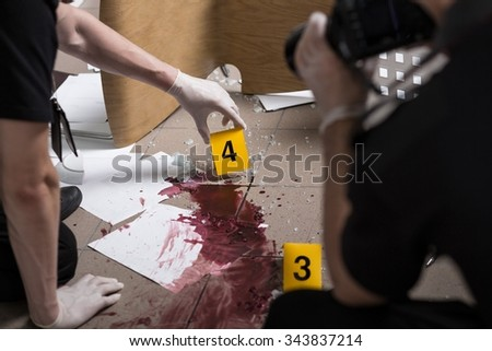 Police officers must be professional at the crime scene - stock photo