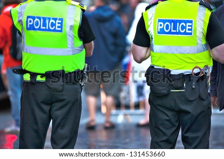 Police officers on duty - stock photo