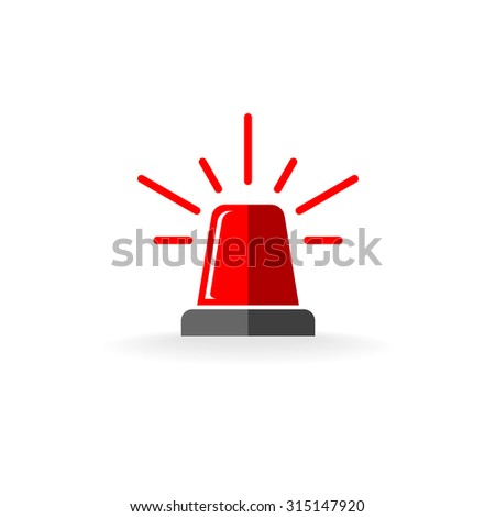 Police or ambulance red flasher siren logo. Flat style with line scatter rays. - stock photo