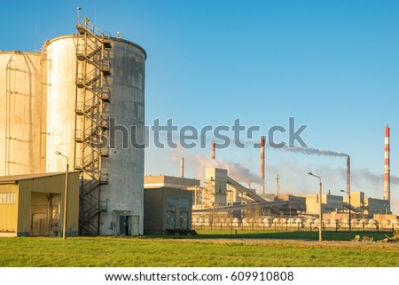 "Police,Poland-March 2017:Industrial plant,Chemical industry-Chemical Plant ""Police"" S.A"