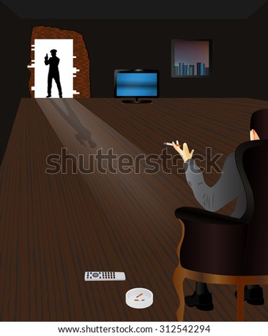 Police raid. Criminal and Police officer. - stock photo