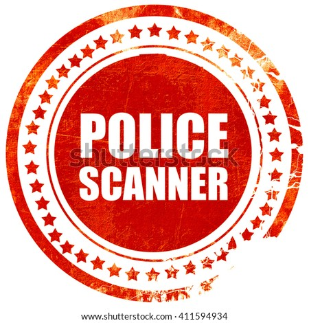 police scanner, red grunge stamp on solid background - stock photo