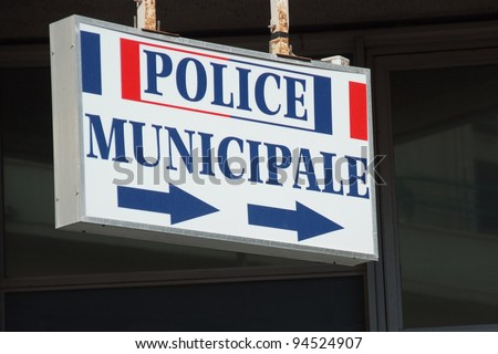 police sign in french city