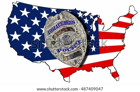 Police State Map of the United States of America and A Police Officer's Badge