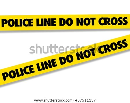 Police tape for sealing off a crime scene isolated on white illustration.