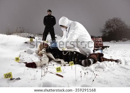 Police team at work - investigation of violent crime - stock photo