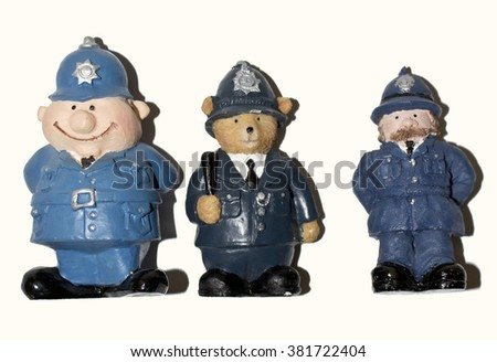 Police Toy Man Figure - stock photo