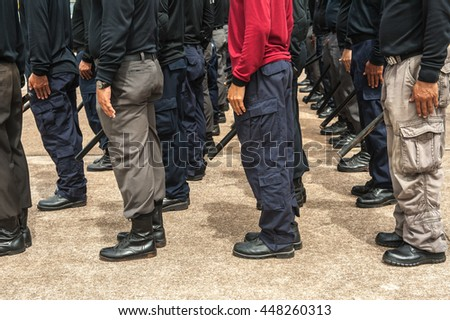 police Training in the use of batons to control crowds.