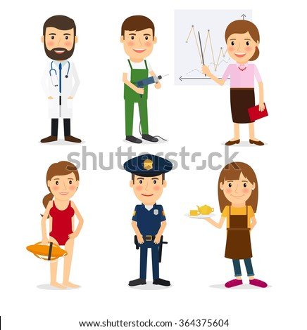 Policeman and lifeguard, waitress and repairman - stock photo