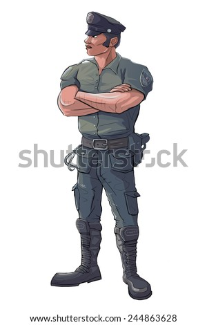 Policeman - Police Officer Stand Guard - Raster Isolated Illustration - stock photo