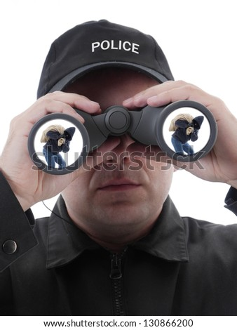 Policeman spotting masked burglar carrying bag with stolen things, through binocular, conceptual shot on white - stock photo