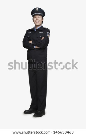 Policeman Standing and Smiling