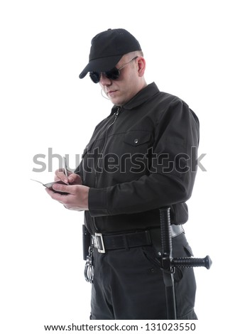 Policeman wearing black uniform and glasses taking notes, shot on white