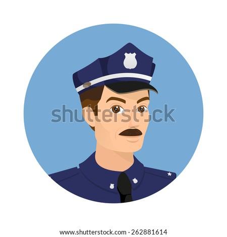 Policeman wearing blue uniform in round icon - stock photo