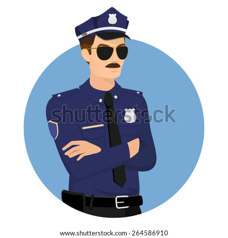 Policeman wearing uniform in blue circle isolated on white illustration. - stock photo