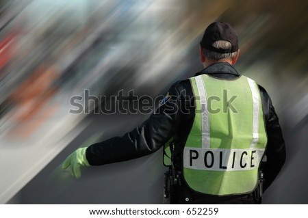 Policeman working