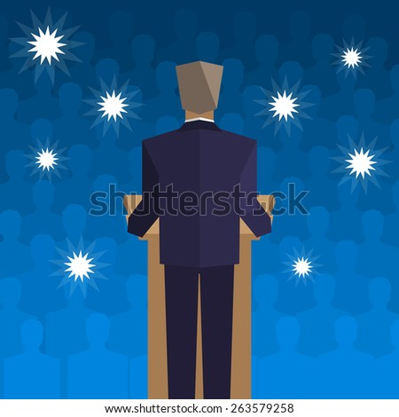 policies behind the podium back to the people - stock photo
