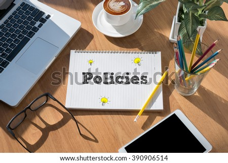 Policies Concept on book top view - stock photo