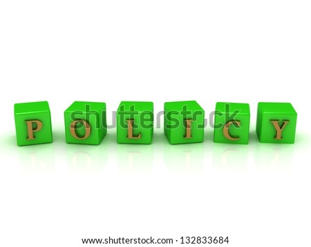 Policy in gold letters on green cubes. 1920x1080 3D rendering from the same footage - stock photo