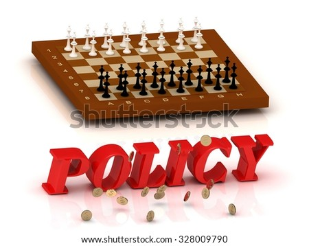 POLICY - inscription of color letters and chess on white background - stock photo