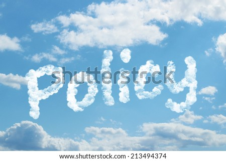 policy word on cloud - stock photo