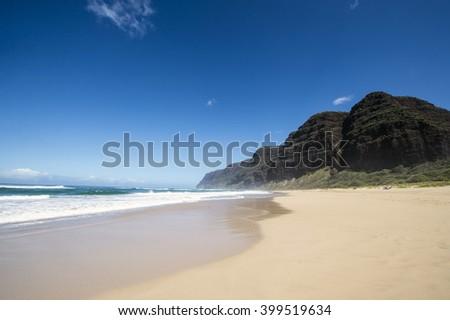 Polihale Beach, Kauai, Hawaii - stock photo