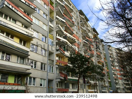 Polish block of flats (Wroclaw, Poland) - stock photo
