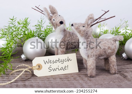 polish Christmas card with two deer  and text merry christmas/merry christmas/polish - stock photo