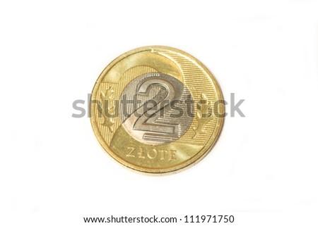 polish coin isolated - stock photo