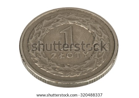 Polish coin 1 zloty - isolated.