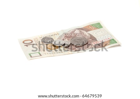 Polish coins and banknote isolated on white background