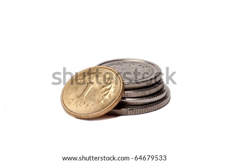 Polish coins isolated on white background - stock photo