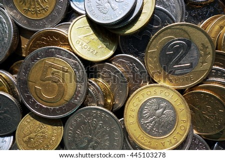polish currency coin money top view - stock photo
