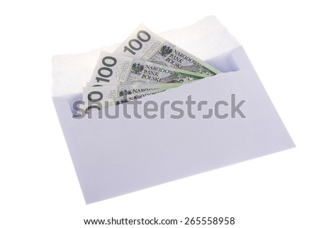 Polish currency in the envelope