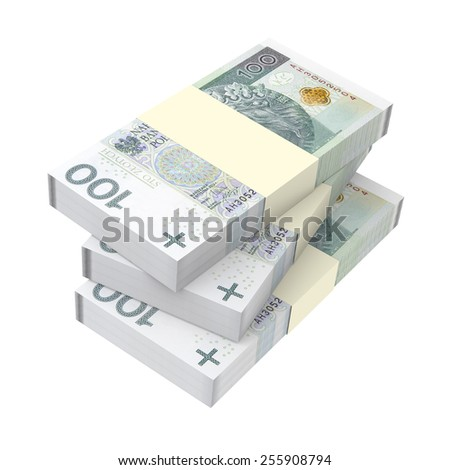 Polish currency isolated on white background. Computer generated 3D photo rendering.