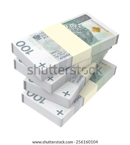 Polish currency isolated on white background. Computer generated 3D photo rendering. - stock photo