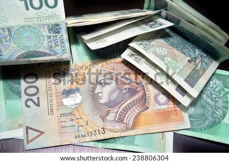 Polish currency - PLN - Polish zloty -  banknotes - stock photo