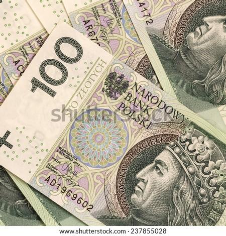 Polish currency Zloty.Hundred PLN money bills background/Hundred zloty banknotes background  - stock photo