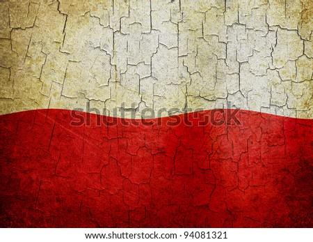 Polish flag on a cracked grunge background - stock photo