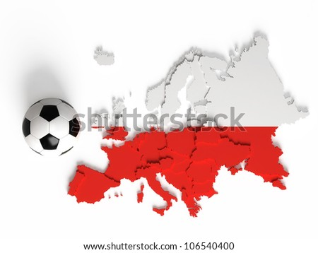 Polish flag on European map with national borders, isolated on white background
